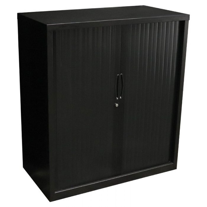 Super Strong Tambour Door Cabinet, Black, 1016mm High
