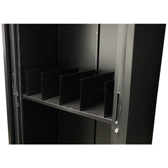 Super Strong Tambour Door Cabinet Slotted Shelves, with File Dividers
