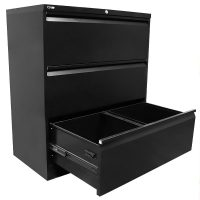 Super Strong Three Drawer Metal Lateral File Drawers, Black, Open 1