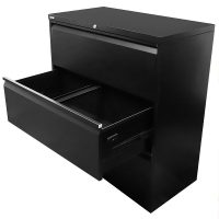 Super Strong Three Drawer Metal Lateral File Drawers, Black, Open 2