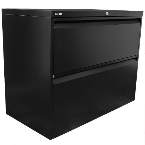 Super Strong Two Drawer Metal Lateral File Drawers, Black