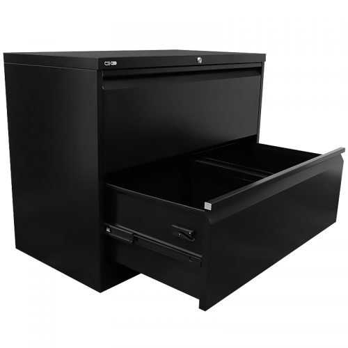 Super Strong Two Drawer Metal Lateral File Drawers, Black, Open