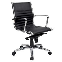 Atlantic Medium Back Chair, Black Leather