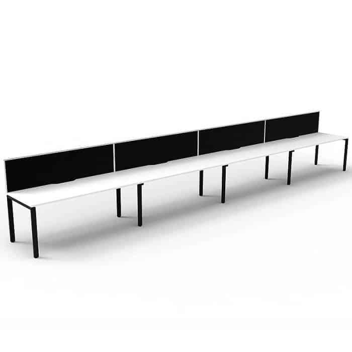 Elite Desk, 4 Person In-Line, Natural White Desk Tops, Black Under Frame, with Black Screen Dividers