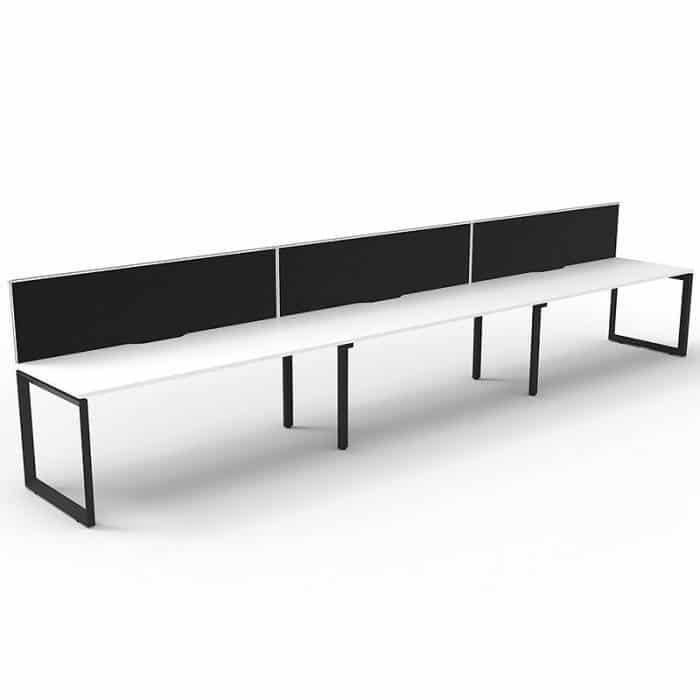 Elite Loop Leg Desk, 3 Person In-Line, Natural White Desk Tops, Black Under Frame, with Black Screen Dividers