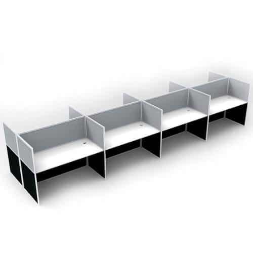 Space System Hung Desk Tops, 8 Desks Back to Back, Grey Screens