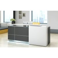 Contour Reception Desk, Left Hand White Front Feature Panel (left hand when seated)