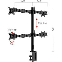 Lyla Standard Ergonomic Quad Monitor Arm, with Dimensions