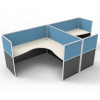 Space System 2 Way Back to Back Corner Workstation Pod, with Blue Screen Dividers