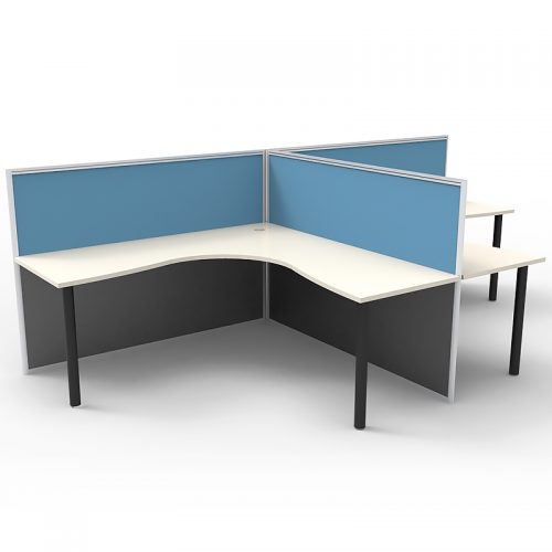 Space System 2 Way Back to Back Corner Workstation Pod, with Blue Screen Dividers, no End Screens