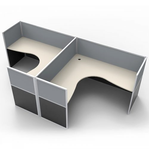 Space System 2 Way Back to Back Corner Workstation Pod, with Grey Screen Dividers