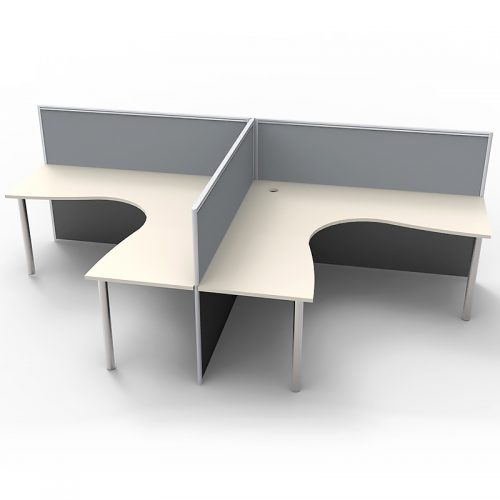 Space System 2 Way Back to Back Corner Workstation Pod, with Grey Screen Dividers, no End Screens