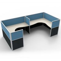 Space System 2 Way Corner Workstation Pod, with Blue Screen Dividers