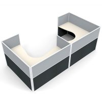 Space System 2 Way Corner Workstation Pod, with Grey Screen Dividers