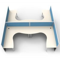 Space System 4 Way Corner Workstation Pod, with Blue Screen Dividers