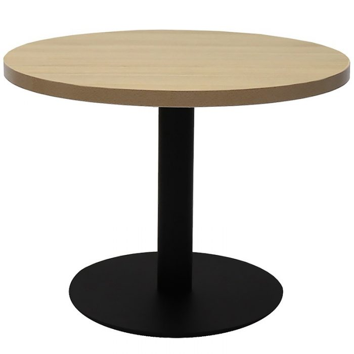 Elite Round Coffee Table, Natural Oak Table Top, Black Table Base