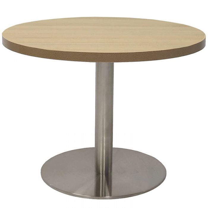 Elite Round Coffee Table, Natural Oak Table Top, Stainless Steel Table Base