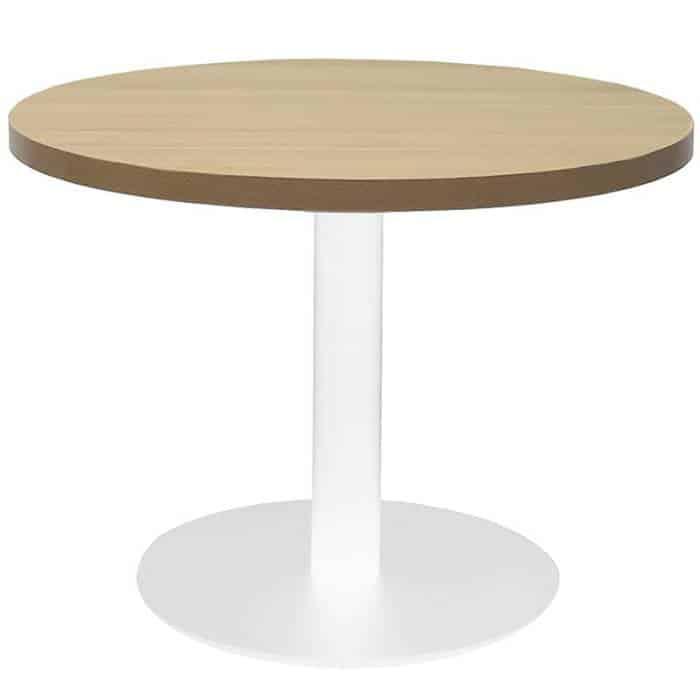 Elite Round Coffee Table, Natural Oak Table Top, White Table Base