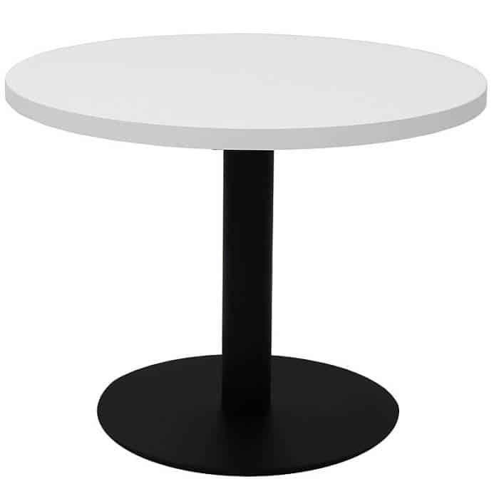 Elite Round Coffee Table, White Table Top, Black Table Base
