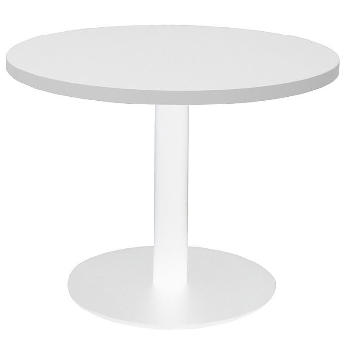 Elite Round Coffee Table, White Table Top, White Table Base