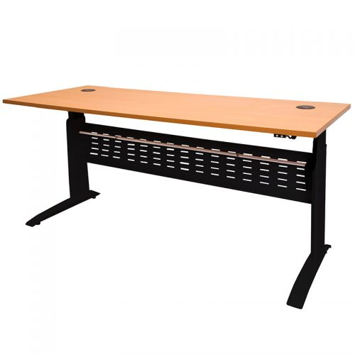 Space System Push Button 'Sit Stand' Height Adjustable Desk, Satin Black Frame with Beech Desk Top