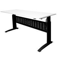 Space System Push Button 'Sit Stand' Height Adjustable Desk, Satin Black Frame with Natural White Desk Top
