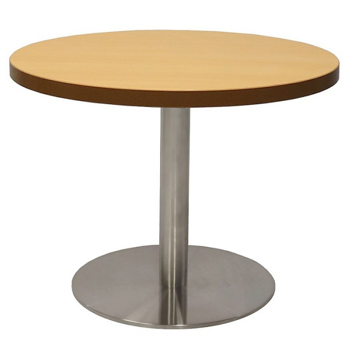 Stacey Round Coffee Table, Beech Table Top, Stainless Steel Table Base