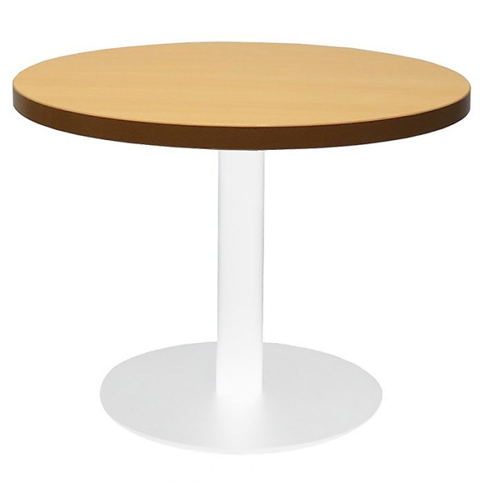 Stacey Round Coffee Table, Beech Table Top, White Table Base
