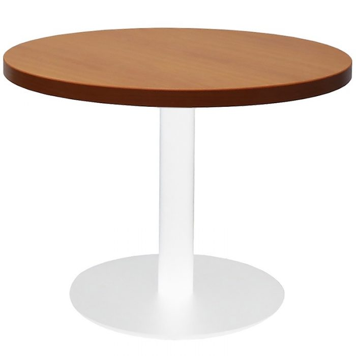 Stacey Round Coffee Table, Cherry Table Top, White Table Base