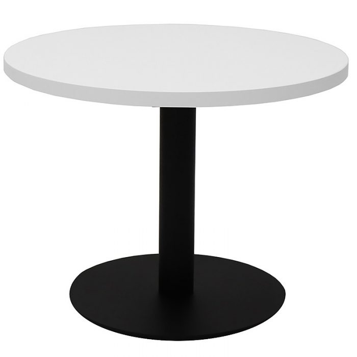 Stacey Round Coffee Table, Natural White Table Top, Black Table Base