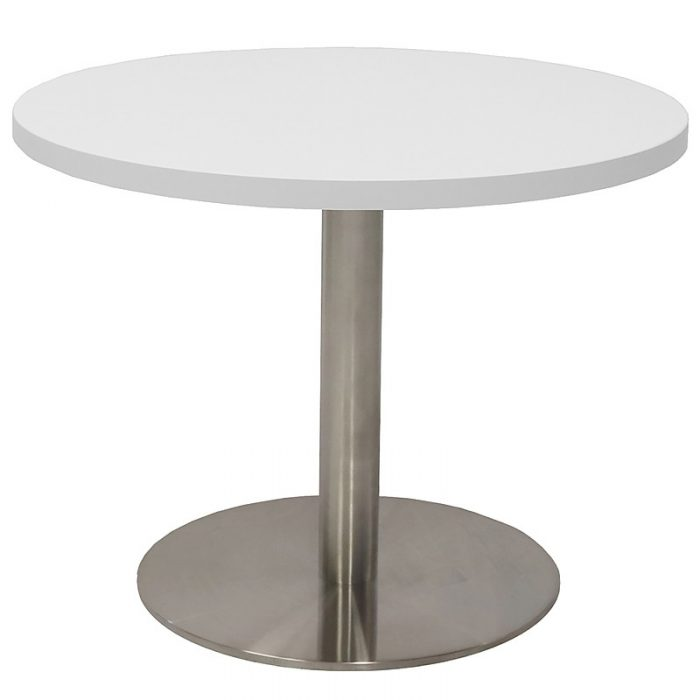 Stacey Round Coffee Table, Natural White Table Top, Stainless Steel Table Base