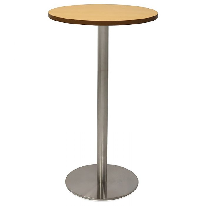 Stacey Round High Table, Beech Table Top, Stainless Steel Table Base