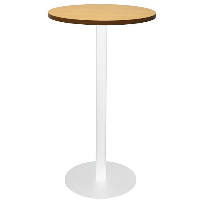 Stacey Round High Table, Beech Table Top, White Table Base
