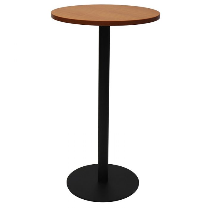 Stacey Round High Table, Cherry Table Top, Black Table Base