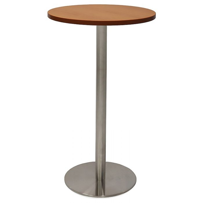 Stacey Round High Table, Cherry Table Top, Stainless Steel Table Base