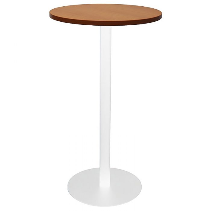 Stacey Round High Table, Cherry Table Top, White Table Base