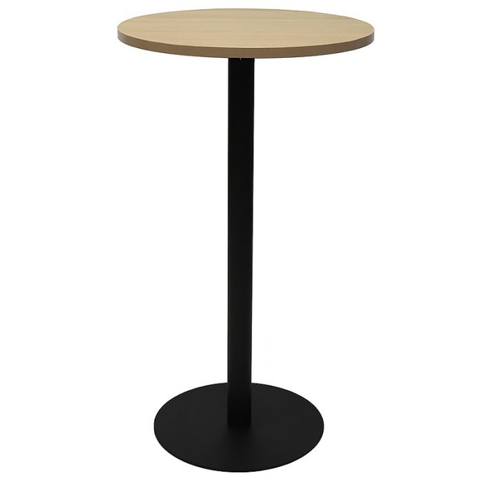 Stacey Round High Table, Natural Oak Table Top, Black Table Base