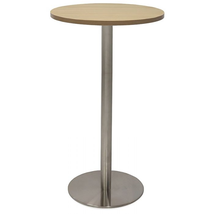 Stacey Round High Table, Natural Oak Table Top, Stainless Steel Table Base