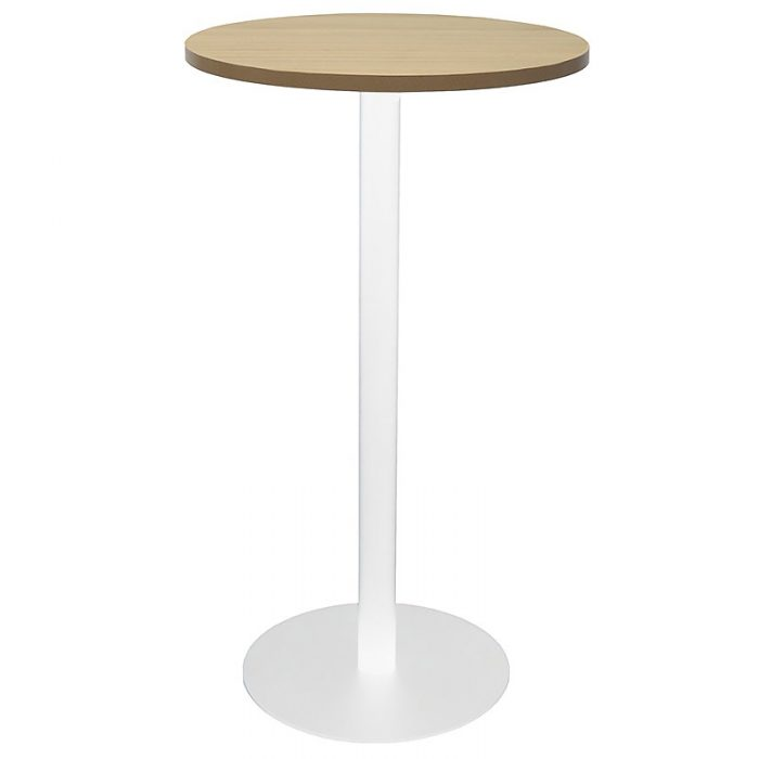 Stacey Round High Table, Natural Oak Table Top, White Table Base