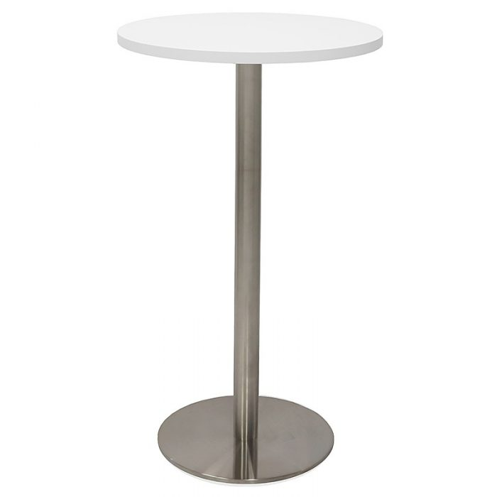 Stacey Round High Table, Natural White Table Top, Stainless Steel Table Base