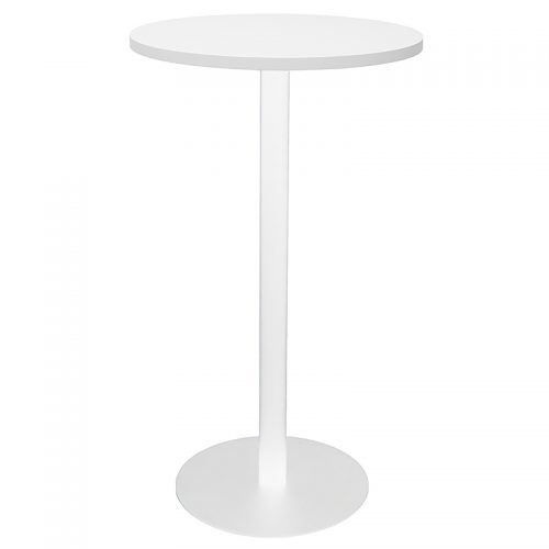 Stacey Round High Table, Natural White Table Top, White Table Base