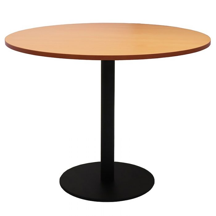 Stacey Round Meeting Table, Beech Table Top, Black Table Base