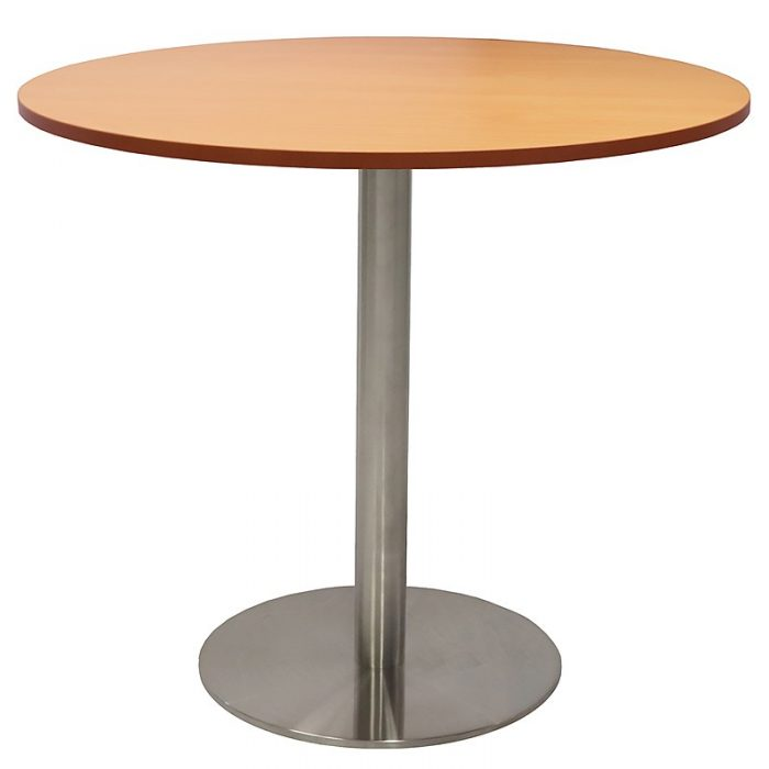 Stacey Round Meeting Table, Beech Table Top, Stainless Steel Table Base