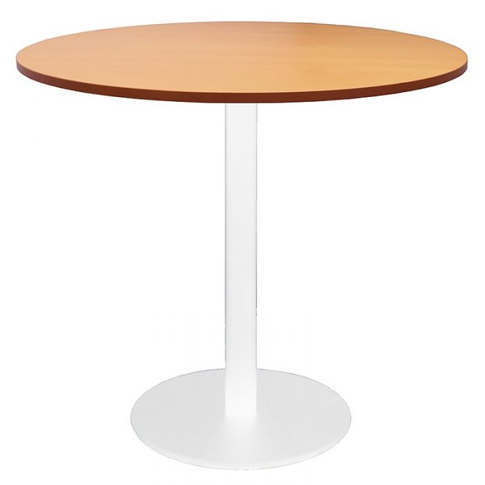 Stacey Round Meeting Table, Beech Table Top, White Table Base