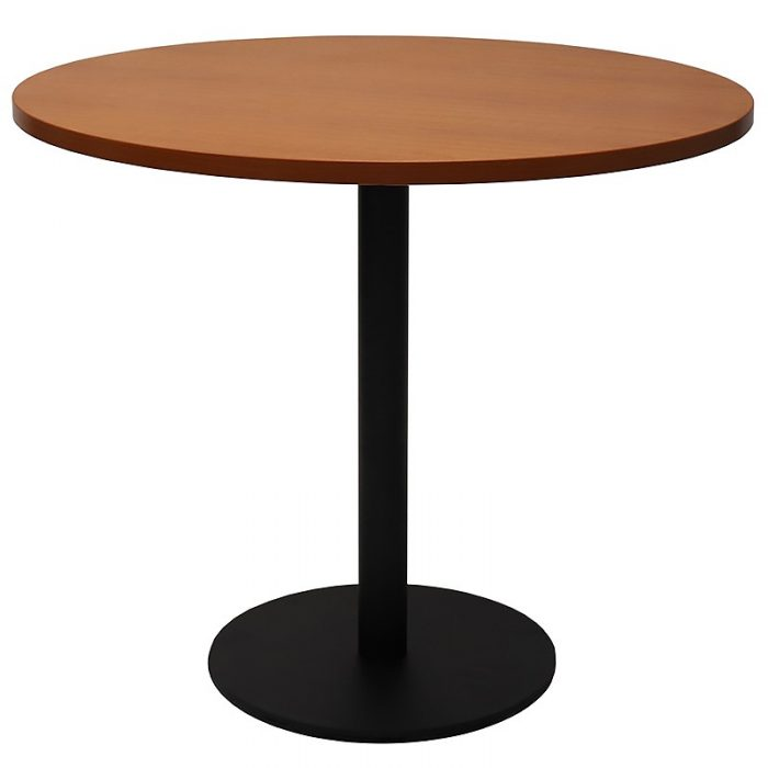 Stacey Round Meeting Table, Cherry Table Top, Black Table Base