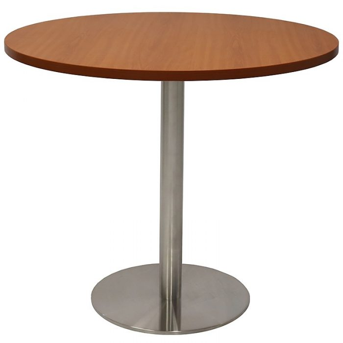 Stacey Round Meeting Table, Cherry Table Top, Stainless Steel Table Base