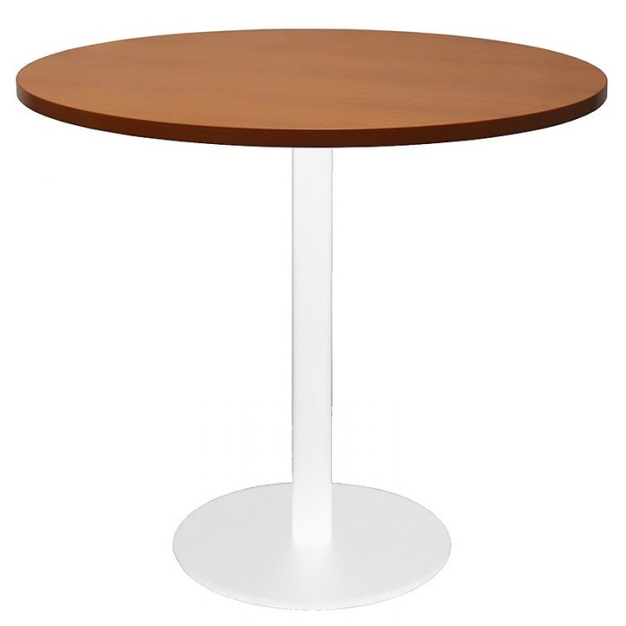 Stacey Round Meeting Table, Cherry Table Top, White Table Base