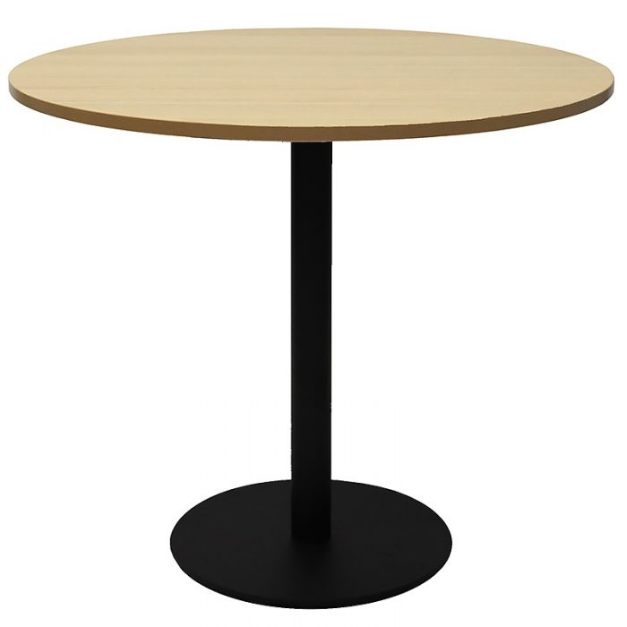 Stacey Round Meeting Table, Natural Oak Table Top, Black Table Base