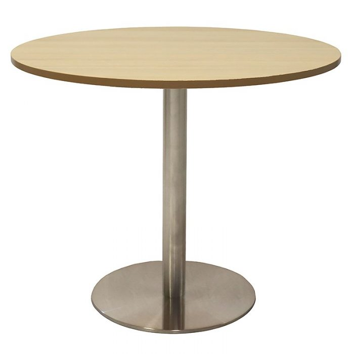 Stacey Round Meeting Table, Natural Oak Table Top, Stainless Steel Table Base