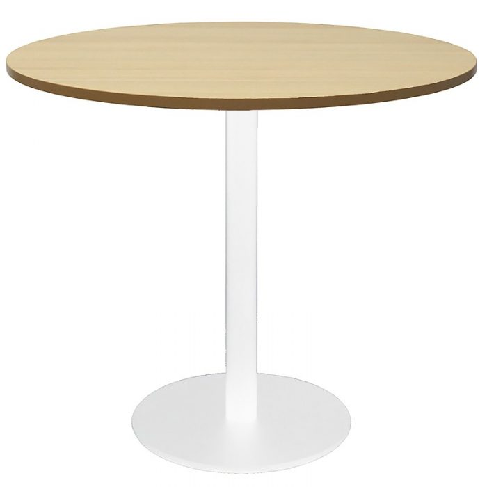 Stacey Round Meeting Table, Natural Oak Table Top, White Table Base